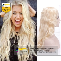 Top quality human blonde hai Full Lace Human Hair Wigs 613/60/27  Brazilian Virgin Hair body wave  full lace blondHair Wigs for Black/White Women