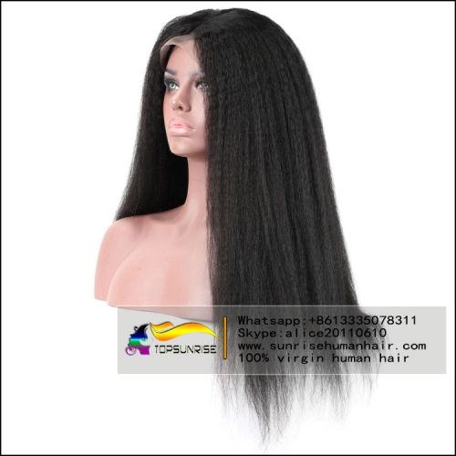 8A human hair kinky straight silk base full lace virgin hair wig glueless, 4x4 silk base full lace wig  small/medium/large cap,ready to ship!