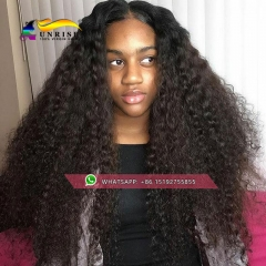 UPS Free shipping lace front human hair wig with baby hair , afro kinky curly 300% density front lace wig  for balck women