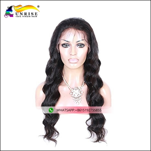 Factory direct sale Peruvian real hair full lace wig body wave hair peruca for girls