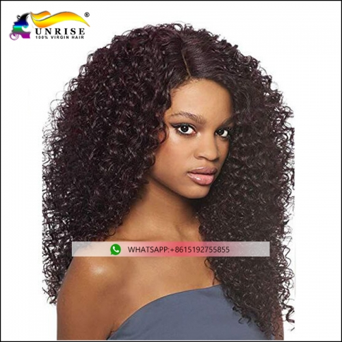 Wholesale price heavy density curly hair lace front wig with remy hair virgin Indian hair for women