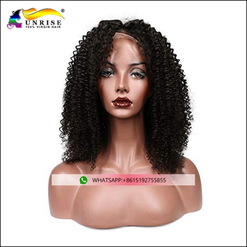 Afro kinky curly brazilian hair front lace wig for black women heavy density lace wig