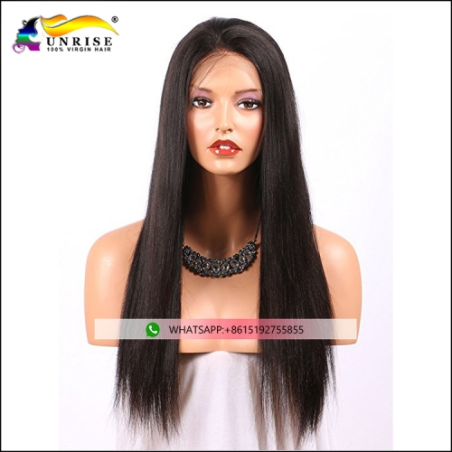 Fashion human hair yaki straight wig for black women pre plucked Chinese hair full lace wig with baby hair