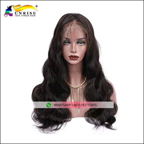 Top quality body wave Peruvian hair heavy density front lace wig with baby hair human hair peruca for women