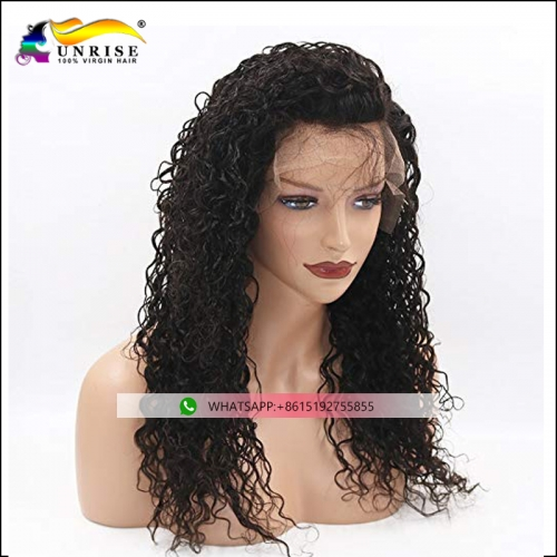 Top quality pre plucked curly lace front wig for lady Malaysian hair pre plucked peruca with natural hairline