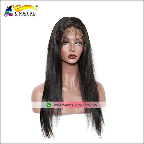 Wholesale price unprocessed hair straight wig Burmese hair front lace wig with invisible hairline