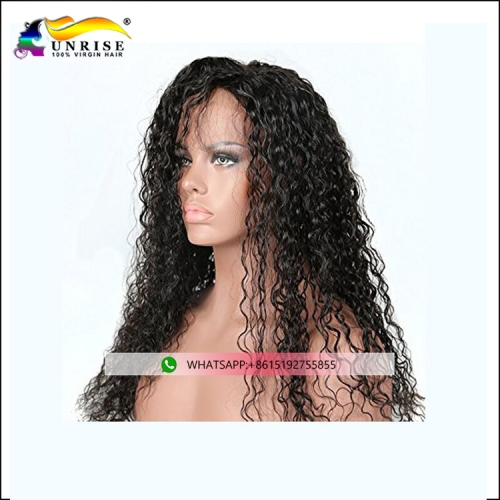 2018 Fashion pre plucked curly peruca for lady Malaysian hair front lace wig with natural hairline