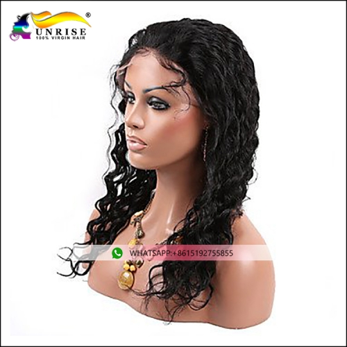 Human hair deep wave lace front wig for lady natural Brazilian hair peruca with baby hair