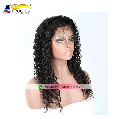 Top quality raw hair curly peruca with natural hairline pre plucked lace front Malaysian wig for lady