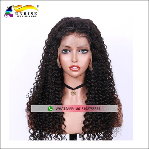 Top quality deep curly peruca with remy hair front lace wig unprocessed hair for girls