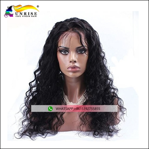 High quality real hair peruca with invisible hairline pre plucked lace front wig Peruvian hair for women