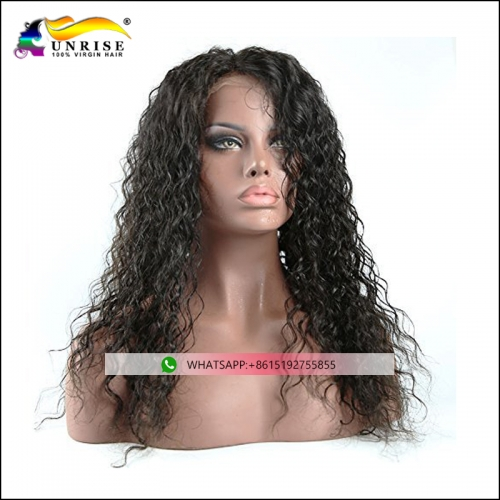 Factory direct sale full lace Chinese curly hair wig for black women pre plucked Chinese hair peruca