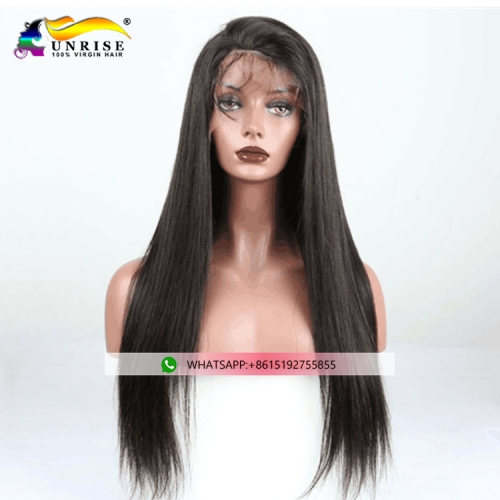 High quality straight Chinese hair peruca full lace virgin hair wig with natural hairline