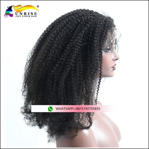2019 fashion 300% density front lace afro kinky curly wig for girls natural hairline virgin hair peruca with baby hair