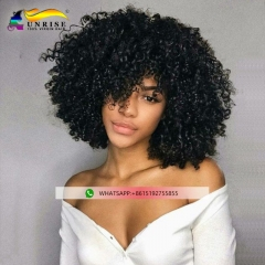 Factory price kinky curly human hair lace front wigs with baby hair high density lace front wig Malaysian hair for black women