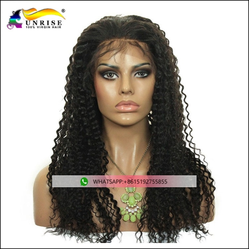 Beauty hair Filipino virgin hair full lace kinky curly wig with baby hair pre plucked Filipino peruca for women