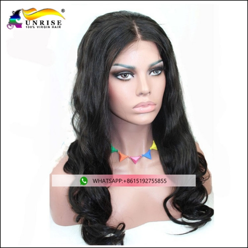 Good quaity Brazilian hair body wave peruca pre plucked full lace virgin hair wig for black women