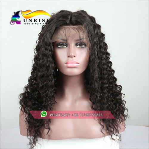 100% Human hair  high density Curly lace front wig glueless,300% density virgin hair lace front  wig with baby hair