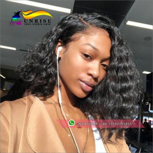 Wholesale human hair 250%  density natural wave bob wigs,lace front high density  bob cut wigs Pre Plucked