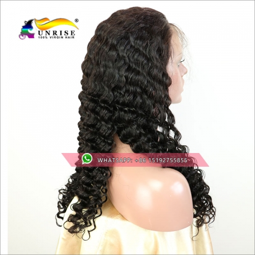 100% Human hair 300% density Deep Wave lace front wig glueless,High density braziilan lace front  wig 13x6inches,13x4inches