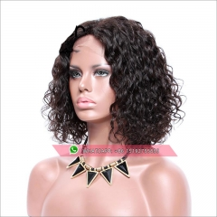 Wholesale High density human hair bob wigs Tight curly ,lace front high density  bob cut wigs Pre Plucked