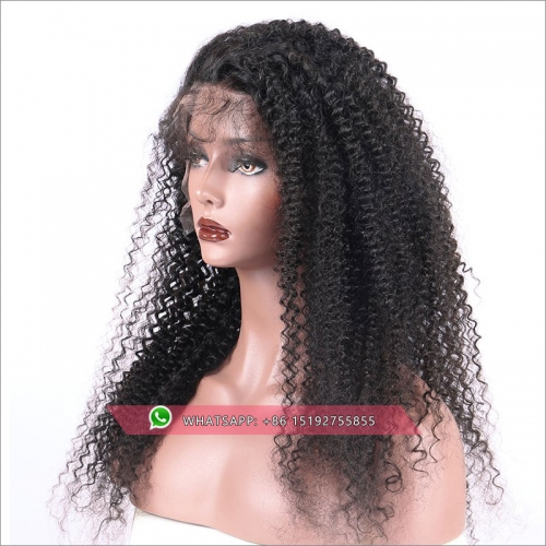 Top Quality Brazilian kinky curly 360 Lace Frontal Wig 180% Density Pre-Plucked Hairline 360 Lace Front Human Hair Wig for Black Women