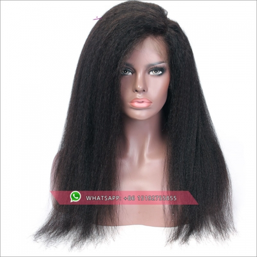 Top Quality Brazilian kinky straight 360 Lace Frontal Wig 180% Density Pre-Plucked Hairline 360 Lace Front Human Hair Wig for Black Women