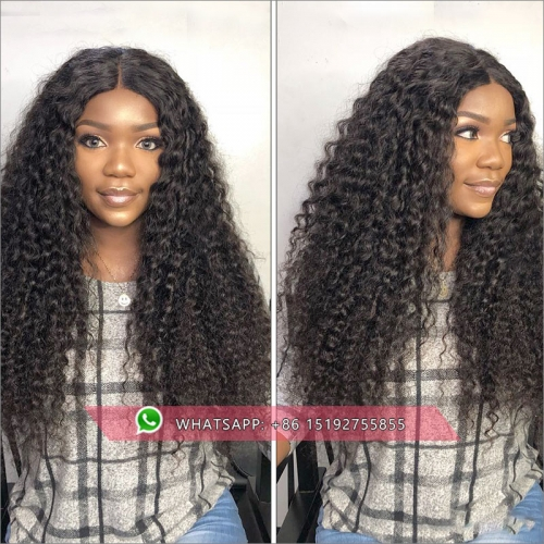 Hot Selling Brazilian curly 360 Lace Frontal Wig 180% Density Pre-Plucked Hairline 360 Lace Front Human Hair Wig for Black Women