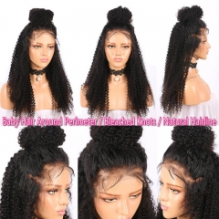 Virgin human hair 130% density  brazilian Kinky Curly full lace wigs with baby hair ,Glueless human hair lace wig Pre plucked