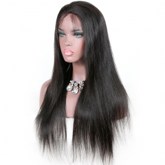 100% human hair silky straight full lace wigs with baby hair ,Glueless  lace wig 130% density  brazilian Pre plucked