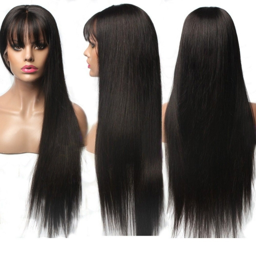 100% virgin Brazilian hair  silky straight lace front human hair wig with bangs,13x6 ,13x4inches front lace wigs free shipping