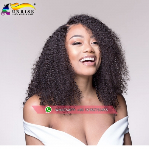Wholesale pre plucked virgin Malaysian hair kinky curly lace front human hair wig with baby hair,13x6 ,13x4inches front lace wigs natural color
