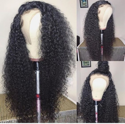 Hot selling glueless tight curly lace front wigs brazilian hair,virgin remy hair lace front human hair wigs pre plucked,13x6inches,13x4inches