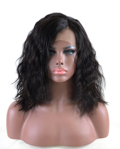 100%  human hair natural wave bob wigs,Brazilian  remy hair bob wigs Pre Plucked,natural color ,250% density