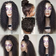 Top Quality 100% human hair curly full lace wigs with baby hair ,Glueless  lace wig 130% density  brazilian Pre plucked