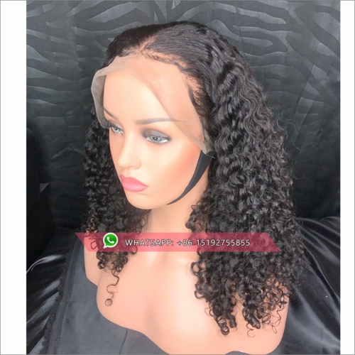 360 Lace Frontal Wig For Women Black Color 180% Density Brazilian Remy Curly Lace Front Human Hair Wigs Natural Hairline