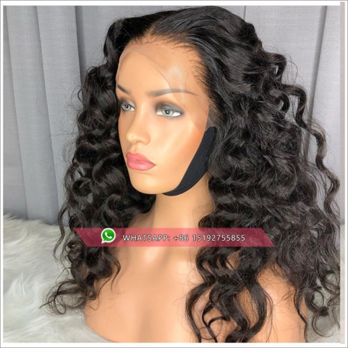 deep wavy Lace Front Human Hair Wigs  Peruvian Remy Hair 360 Frontal Preplucked Bleached Knots For Women Baby Hair Lace Wig
