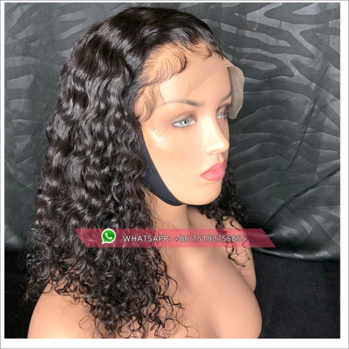 curly Lace Front Human Hair Wigs  Peruvian Remy Hair 360 Frontal Preplucked Bleached Knots For Women Baby Hair Lace Wig