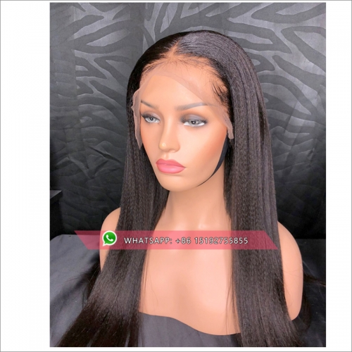 Queen Human Hair Wigs italian Yaki Straight  360 Wig  Brazilian Natural Remy Hair Medium Cap