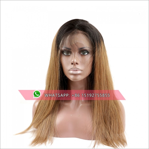 Ombre  color  Lace Front Human Hair Wigs For Women Black ,Pre Plucked Brazilian Straight high density natural color/#6  Lace Wig With Baby Hair