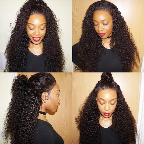 Long Tight Curly Hair  African American Hairstyle  100% humanr Hair lace front Wigs For Woman Black 300% Density.