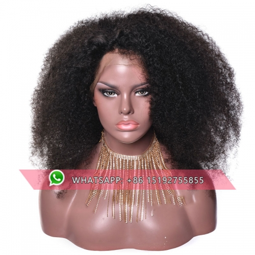 Afro kinky Curly 360  Lace Human Hair Wigs With Baby Hair Pre Plucked Brazilian  360 frontal Lace Wigs For Black Women