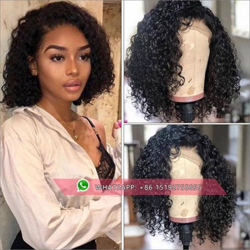 TOP quality 100% Human hair 13x6 Lace Front Human Hair bob Wigs 130% Density,150% density,Brazilian tight curly full lace bob wigs