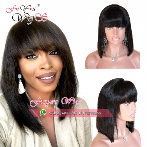Fashion brazilian 13x6 Lace Front Human Hair bob Wigs with bang 130% Density,150% density,  silky straight full lace bob wigs