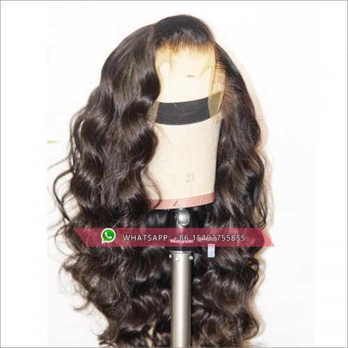 wavy full lace Human Hair Wigs For Women Black Color Brazilian Lace Wig Plucked Full End Can Make 360 Circle Bun