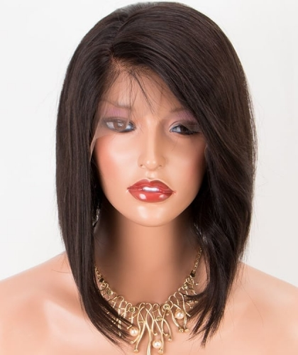 Top quality brazilian hair silky straight lace front short hair bob Wigs pre plucked 130% ,150% density,glueless full lace bob wigs pre plucked