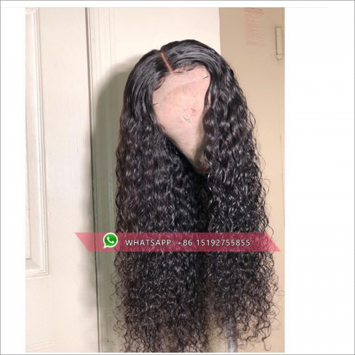 Water wave brazilian Hair lace wigs,African American Hairstyle  100% humanr Hair lace front Wigs Pre Plucked