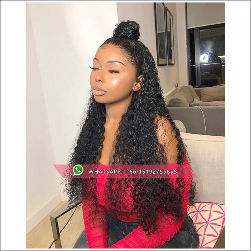 Mogolian   Kinky Curly Lace  Human Hair Wigs For Black Women Remy Hair Lace 360 Wig