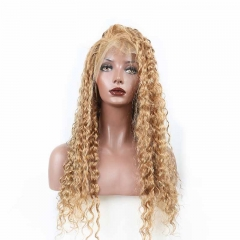 TOP quality Full Lace Human Hair Wigs Blond Color Brazilian Remy Hair loose curly colorful Full Lace Wigs With Baby Hair Pre Plucked