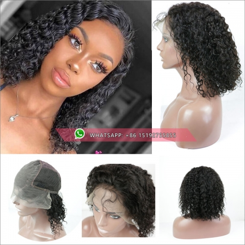 Hotselling curly brazilian lace front  bob Wigs ,130% ,150% density,glueless full lace human hair bob wigs pre plucked